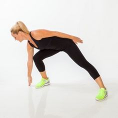 Side Lunge (hop) Switch:  Take a wide step to the right and lunge (try to touch right fingertips to the ground), pushing hips back. Push off right leg and jump up and to the left, bringing feet together mid-air. Land with knees slightly bent and hip-width apart. Repeat, alternating sides each rep.  30 sec