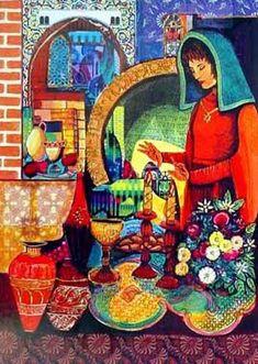 Enlarged photo of 'Lighting Candles' by Amram Ebgi Hebrew Greetings, Jewish Sabbath, Good Shabbos, Arte Judaica, Religious Rituals, Shabbat Shalom, Jewish Art, Scripture Art, Moon Art