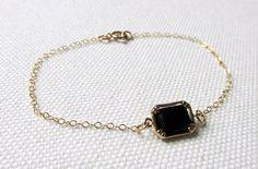 Black Rectangle Bracelet Delicate Gold Plate or 12k Gold Filled Chain Dainty…