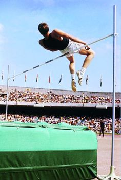 Dick Fosbury unveiling the 'Fosbury Flop' in the Mexico Olympics 1968. One man who revolutionised the High Jump.