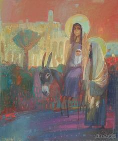 Journey to Egypt, by Oleksandr Antonyuk___ Collection - ICONART Contemporary Sacred Art Gallery Oil Painting Pictures, Art Pictures, Catholic Art, Religious Art, Jesus And Mary Pictures, Jesus Painting, Spirited Art, Biblical Art, Jesus Art