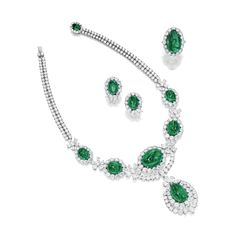 Sotheby's Emerald and Diamond Parure Comprising a necklace, to the front designed as five graduated cabochon emeralds each within a circular-cut diamond surround enhanced by pear-shaped and circular-cut diamond floral spacers, suspending a similarly-set pendant centring on a cabochon emerald, to the circular-cut diamond two-row backchain and cabochon emerald clasp; and pair of earclips and a ring; the emeralds and diamonds altogether weighing approximately 179.00 and 85.00 carats…