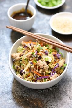 Egg Roll in a Bowl is a fast and healthy meal that is prepared in one skillet and ready in minutes! #pork #stirfry #chicken #cabbage #whole30 #paleo #keto #easy