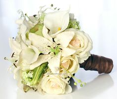white tiger lily wedding bouquet | White Real Touch Tiger Lilies, Roses & Callas Bridal ... | wedding- j ...