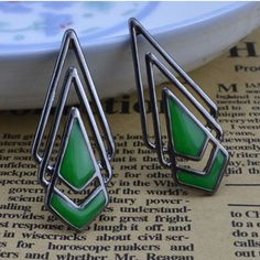 Green triangle earrings from LookOutBoutique.com