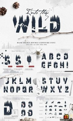 Wild modern font with double exposure effect that will look awesome in your design project. Each letter is unique. Forest, mountains, animals every detail was made by hand and with love ♥. Graffiti Lettering Fonts, Typography Fonts, Lettering Design, Branding Design, Logo Design, Photoshop Design, Photoshop Tips, Photoshop Tutorial, Modern Typography