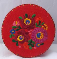 hungarian flower embroidery | Hungarian Matyo style Embroidered Wool Felt Box, Container