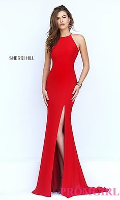 Sherri Hill Long Sleeveless Prom Dress with Open Back  at PromGirl.com