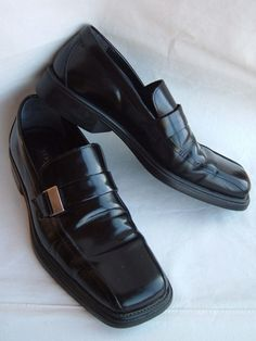 STRUCTURE Men's Dress Black Leather Shoes Size 11 D Made in Italy #Structure #Dress