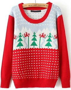 Red Christmas Tree Knit Sweater 18.00