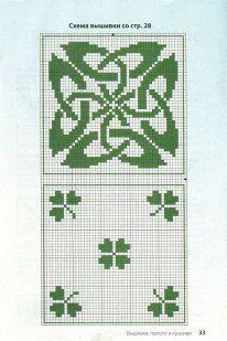 Irish Celtic BISCORNU, ALFILETEROS, GUARDATIJERAS, ....A PUNO DE CRUZ monochrome shamrock cross stitch