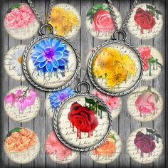 Melting Flowers  Digital Collage Sheet 1.5 inch by MobyCatGraphics, $3.75