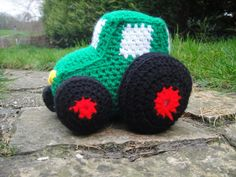 Crochet Tractor- there's a pattern for a car here too!