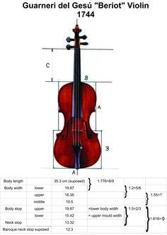 Medidas Guarneri del Gesu violín 1744