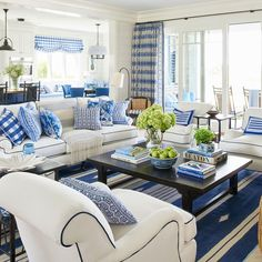 Blue and white never looked so brilliant: California designer Mark D. Sikes switched coasts to take on our Idea House in nautical Newport, Rhode Island. The result is an East-meets-West-Coast stunner that redefines classic coastal style.