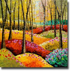 B. Sasik Original Oil Painting Mystic Woods ART Trees Meadow