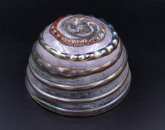#Metallic Glass #Bowl, Pink and Golden Bowl, Fruit Bowl, Candy Bowl, Golden Spiral Bowl, Faux Antique Glassware, Glass Dessert Dish  #glassbowl #metallicglass #fauxantique #handblownglass