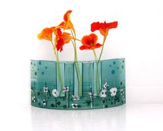 fused glass vases | Fused glass Curved vase dwvided to three vases in Calm green colors
