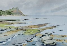 'Stormy light at Kimmeridge' by Oliver Pyle. Watercolour on St Cuthberts Mill 300gsm (140lb) Millford paper. http://www.oliverpyle.com/
