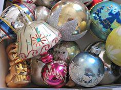 VINTAGE GLASS CHRISTMAS ORNAMENTS GERMANY POLAND SHINY BRITE