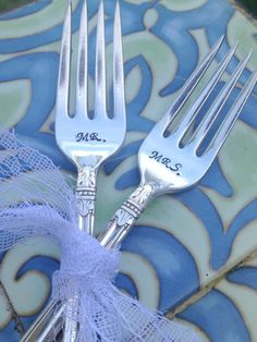 Mr & Mrs Hand Stamped Vintage Forks