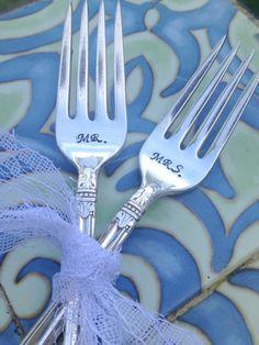 Mr & Mrs Hand Stamped Vintage Forks