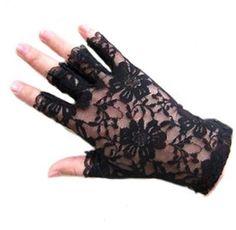 Eg /_ Damen Gothnic Party Bekleidung Spitzenhandschuhe Fingerlose Schwarz Weiß