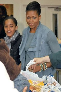 Ist Lady Michelle Obama With 1st Daughter Malia Obama...