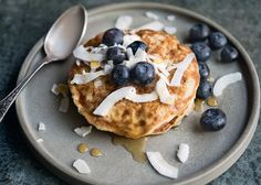 These are really good pancakes; they crisp nicely on the outside but are very fluffy and soft on the inside. I have used Coconut flour as a gluten free alternative to plain flour but use regular flour if you wish. Amelia Freer, Coconut Flour Pancakes, Blueberry Pancakes, Vegan Pancakes, Lemon Soup, Vegetable Crisps, Roasted Fennel, Summer Salads, Gluten Free Recipes