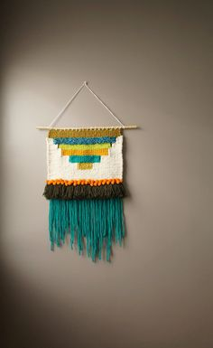 Woven Wall Hanging / Wooly Bully / Teal Mustard Weaving / Modern Tapestry / Bohemian Fringe / Wool Textile Art / Boho Home Décor / Wall Art
