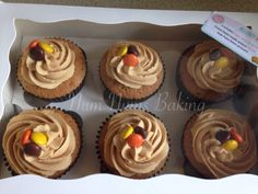 Peanut butter cupcakes with Reese's Pieces