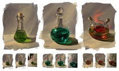 From nature: bottles by JuliaTar potions healing fire health mana poison equipment gear magic item | Create your own roleplaying game material w/ RPG Bard: www.rpgbard.com | Writing inspiration for Dungeons and Dragons DND D&D Pathfinder PFRPG Warhammer 40k Star Wars Shadowrun Call of Cthulhu Lord of the Rings LoTR + d20 fantasy science fiction scifi horror design | Not Trusty Sword art: click artwork for source