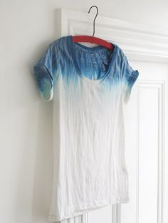 This is a cotton T from H  You need to soak it and rinse out the water.  Make the dye bath according to the bottle.  I find liquid dye much easier to work with.  Dip it in the dye a few times and rinse.  Remember to rince downwords, so that the whole T does not become blue.  Dry.  If you think the color is to light, simple repeat the whole process.
