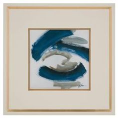 Daze Grey Indigo Abstract Ivory Gold Giclee Painting | Kathy Kuo Home