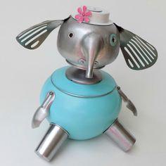 Elephant Aqua Blue Cookie Jar Art Sculpture Original Art Robot Recycled