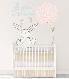 Nursery Fabric Wall Decal Boy Reusable Sweet Dreams Bunny Rabbit Repositionable Decor Big Removable Art for Boy TppCards 002WDBB by TppCardS #tppcards #printable #invitations