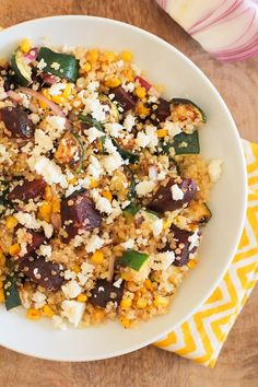 Grilled Zucchini, Corn, and Beet Quinoa Salad