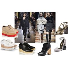 Shoe trends this upcoming season, Fall Stella McCartney with high platform oxford shoes and Lanvin with fierce and modern shoe-sandals. Oxford Platform, Oxford Shoes, Stella Mccartney Elyse, Lanvin, Beauty And The Beast, Shoes Sandals, Polyvore, Fashion, Sandals