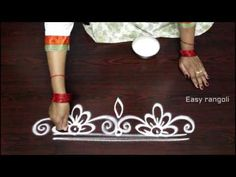 innovative and easy rangoli side designs || side designs for kolam || muggulu side designs - YouTube