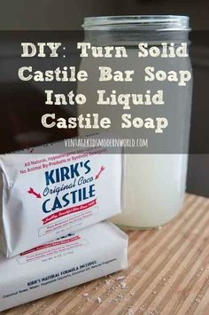 DIY :: Turn Solid Castile Bar Soap Into Liquid Castile Soap, add 2 cup boiling water to 1 bar soap. Mix well until soap is fully melted and you now have liquid castile soap. Homemade Cleaning Products, Homemade Beauty Products, Natural Cleaning Products, Cleaning Recipes, Cleaning Hacks, Natural Products, Castile Soap Uses, Liquid Castile Soap, Foaming Soap