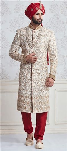 506228 White and Off White color family Sherwani in Silk fabric with Lace, Thread work .