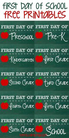 So cute! Free first day of school printables #freeprintables #backtoschool