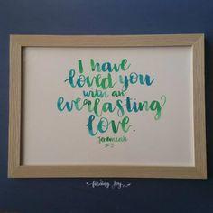 Personalised, custom-made brush calligraphy artwork Lettering Guide, Brush Lettering, Hand Lettering, Journal Quotes, Everlasting Love, Letter Art, Smash Book, Finding Joy, Jeremiah 31