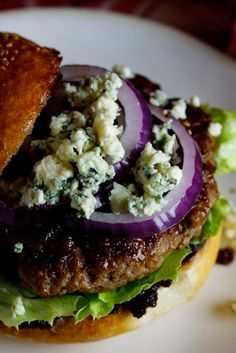 Beef Burgers with Bacon Jam & Gorgonzola