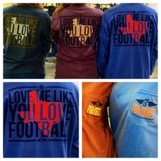 "We are in love with these ""Love me like you love football"" long sleeve, pocket, comfort color shirts!  IL.FOOTBALL.SM!!!"