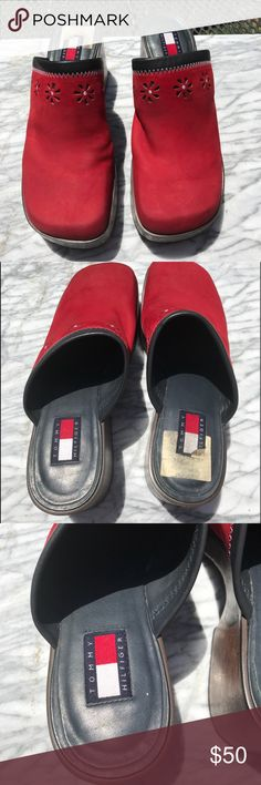 Vintage Tommy Hilfiger Red Clog Sz 11M See picture for description.  Fast shipment within the USA  Shipping Time: We ship all items within one business day of your payment clearing. (Excludes Holiday and weekends) Feedback: We aim to earn positive 5-star feedback for every item. If you are happy with your purchase please take a minute to leave positive 5-star feedback. If you have any issues with your purchase please contact us directly using Poshmark message service to resolve the issue so that we can earn your positive feedback Tommy Hilfiger Shoes