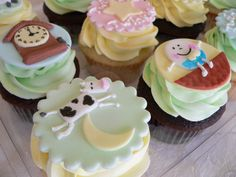nursery rhymes cupcakes. One day I WILL have these for a baby shower!