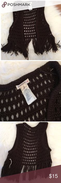 Brown Fringe Crochet Vest Brand never. Never worn. Size 7/8. Part of tag fell off but never used. No flaws. Forever 21 Girls. No trades. Forever 21 Jackets & Coats Vests