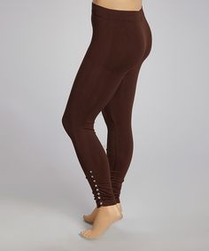 Another great find on #zulily! Brown Studded Leggings - Plus by Poplooks #zulilyfinds
