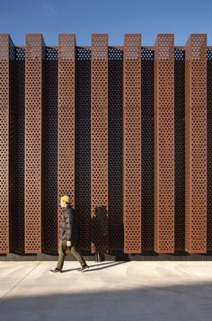 Custom copper perforated metal sheets/panels. The Treasury Research Centre & Archive / Architectus